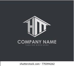 HM initial construction.real estate.home letter logo design