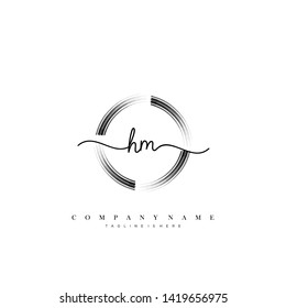 HM initial handwriting logo template vector