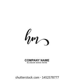 HM Initial handwriting logo vector