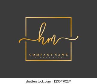 HM Initial handwriting square minimalist logo vector