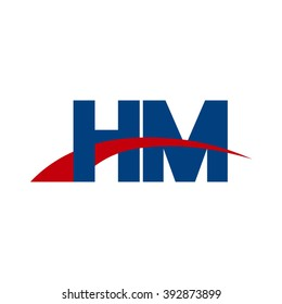 HM initial overlapping swoosh letter logo blue red