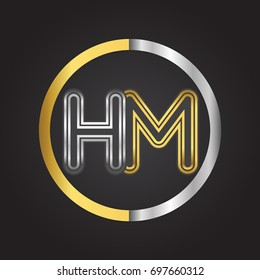 HM Letter logo in a circle. gold and silver colored. Vector design template elements for your business or company identity.