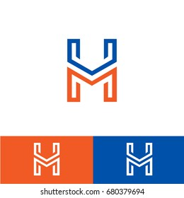 HM logo design with H and M letter in editable vector format.