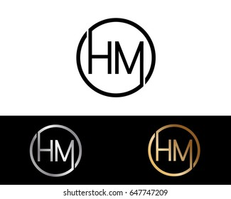 Hm Logo. Letter Design Vector with Red and Black Gold Silver Colors