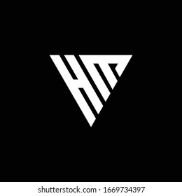 HM Logo letter monogram with triangle shape design template isolated on black background