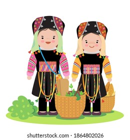 Hmong in northern of vietnam in traditional costume and basket.