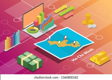 ho chi minh city isometric financial economy condition concept for describe cities growth expand - vector illustration