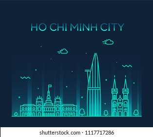 Ho Chi Minh City (Saigon) skyline, Vietnam. Trendy vector illustration, linear style
