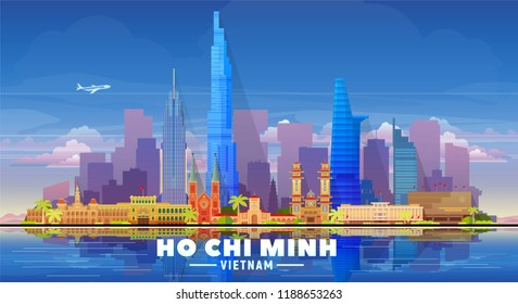 Ho Chi Minh city (Vietnam) skyline with panorama in white background. Vector Illustration. Business travel and tourism concept with modern buildings. Image for banner or web site.