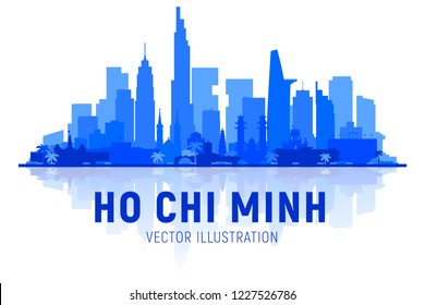 Ho Chi Minh city (Vietnam) skyline silhouette with panorama in white background. Vector Illustration. Business travel and tourism concept with modern buildings. Image for banner or web site.