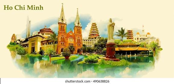 HO CHI MINH Wasserfarbe der Stadt Vektorgrafik