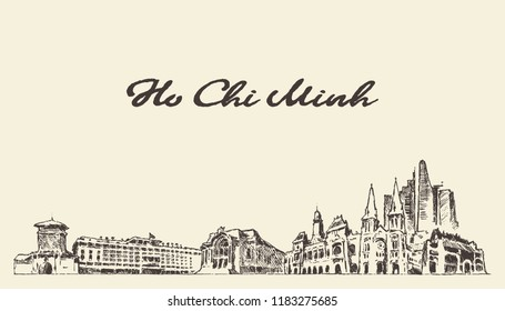 Ho Chi Minh skyline, Vietnam, hand drawn vector illustration, sketch