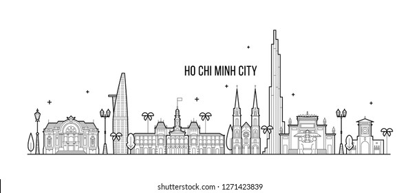 Ho Chi Minh skyline, Vietnam. This illustration represents the city with its most notable buildings. Vector is fully editable, every object is holistic and movable