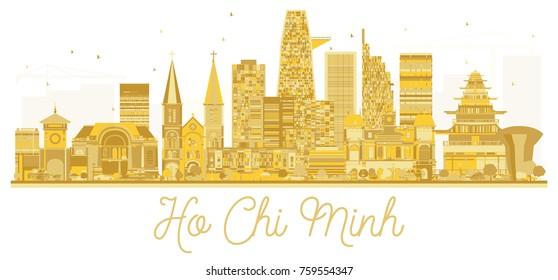 Ho Chi Minh Vietnam City skyline golden silhouette. Vector illustration. Simple flat concept for tourism presentation, banner, placard or web site. Business travel concept.