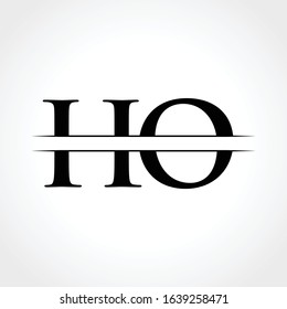HO Logo Design Vector Template. Initial Linked Letter HO Vector Illustration
