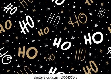 Ho ho ho Santa Claus laugh. Seamless texture pattern black background.