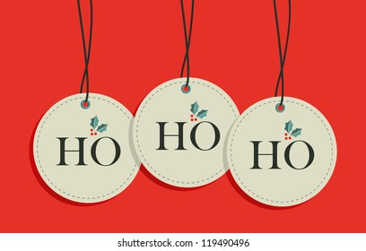 Ho, ho, ho xmas sale hang tags set. Vector illustration layered for easy manipulation and custom coloring.
