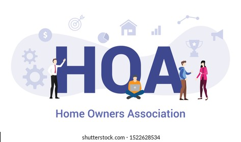 hoa home owners association concept with big word or text and team people with modern flat style - vector