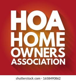 HOA - Homeowners Association acronym, business concept background