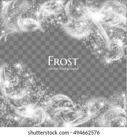 Hoarfrost transparent vector background. Frost, christmas, winter holiday background element. Vector eps10.