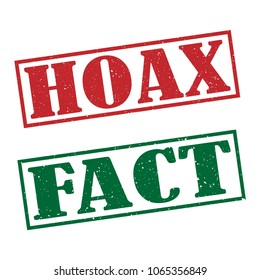HOAX and FACT stamp text on white