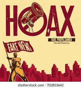 Hoax Label. Vintage propaganda poster and elements. Isolated artwork object. Suitable for and any print media need.