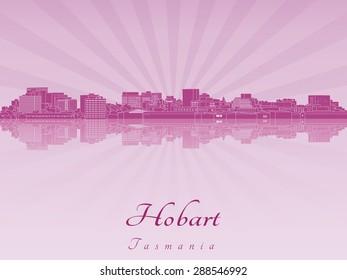 Hobart skyline in purple radiant orchid in editable vector file