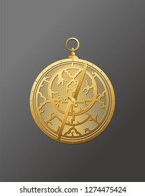 Hobbies and business. Ancient subject. History of inventions. Science and art. Jewelry astrolabe.