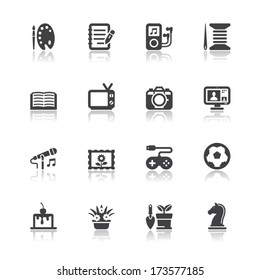 Hobbies Icons with White Background