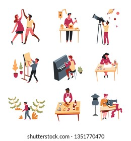 Hobbies leisure activity or pastime art and entertainment vector dancing and handmade craft telescope and easel playing music drawing and cooking sewing birdhouse easel piano key song cook in apron