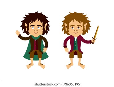 Hobbit cartoon character. Hobbit vector. Hobbit isolated on a white background