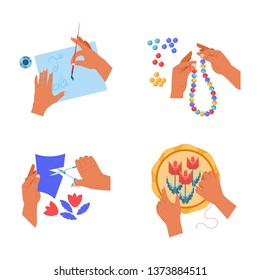 Hobby and art hands handicraft painting cutting embroidery and beads vector isolated icons paintbrush and paint bijoutery creation postcard creation human palms threads and paper sheet leisure