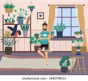 Hobby of character vector, man spending time at home practicing yoga poses. Interior of room, plants and flowers on shelves, persons pastime pleasure