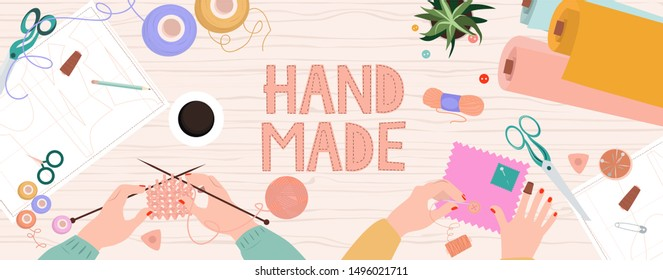 Hobby and crafts concept. Top view on the work process, people's hands embroider and knit products, Work in the studio. Editable vector illustration.