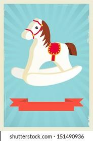 Hobby horse background in retro style