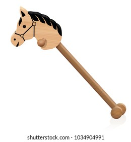 Hobby horse. Childs wooden riding toy animal - isolated vector illustration on white background.