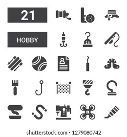 hobby icon set. Collection of 21 filled hobby icons included Paint tube, Drone, Sewing machine, Worm, Bonsai, Hook, Fishing net, Rake, CV, Tennis ball, Skii, Fishing rod, Fisherman