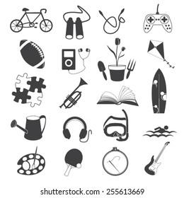 Hobby Icons Isolated on White Background