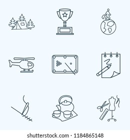 Hobby icons line style set with copter, billiard, award cup and other atelier elements. Isolated vector illustration hobby icons.