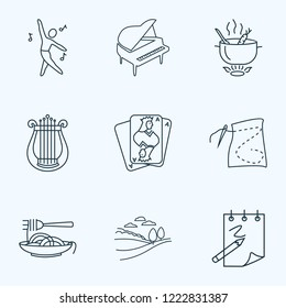 Hobby icons line style set with dancing, harp, sketching and other lyre elements. Isolated vector illustration hobby icons.