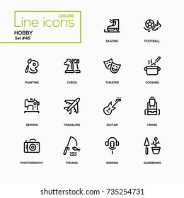 Hobby - line design icons set. Popular activities that we do for fun. Skating, football, painting, chess, theater, cooking, sewing, traveling, guitar, hiking, photography, fishing, singing, gardening