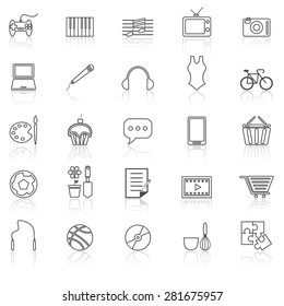 Hobby line icons with reflect on white, stock vector