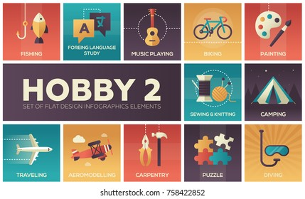 Hobby - set of flat design infographics elements. Fishing, foreign language study, music playing, biking, painting, sewing, knitting, camping, traveling, aviamodelling, carpentry, puzzle, diving