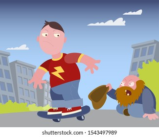 Hobo asks for money from a guy on a skateboard at the street vwctor cartoon