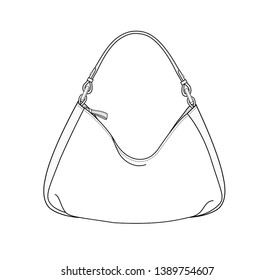 Hobo bag, daily Hobo purse, vector illustration sketch template isolated on white background