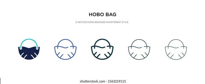 hobo bag icon in different style vector illustration. two colored and black hobo bag vector icons designed in filled, outline, line and stroke style can be used for web, mobile, ui