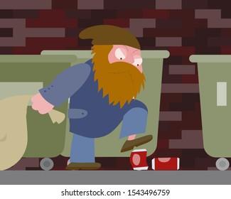 Hobo plows drink cans near trash cans vector cartoon