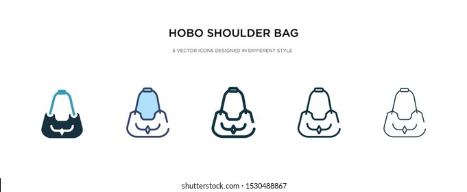 hobo shoulder bag icon in different style vector illustration. two colored and black hobo shoulder bag vector icons designed in filled, outline, line and stroke style can be used for web, mobile, ui