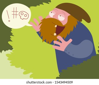 Hobo shouts dirty words from bushes vector cartoon