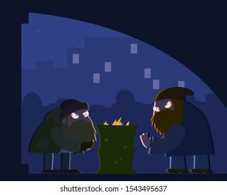 Hobo under the bridge warm at the burning barrel at night vector cartoon